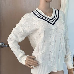 Sweaters - Beautiful Cream Colour Knit Sweater Preppy Style